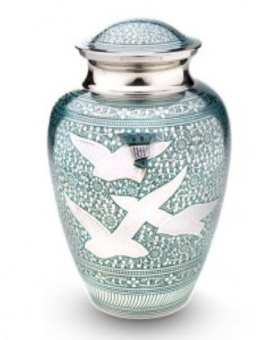 Green and Silver with Birds of Peace Large Urn or Miniature Keepsake